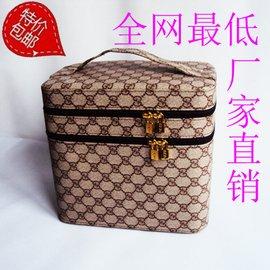 大號多層防水韓國 可愛化妝箱大容量雙層化妝包大復古手提女包