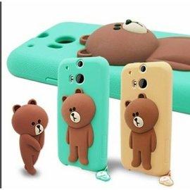 LINE ~ HTC NEW ONE M8 BROWN 矽膠保護殼 150元