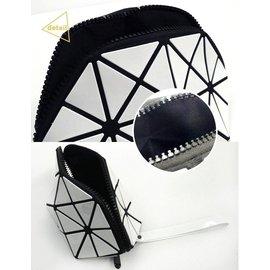 編號:3223 立體幾何 半圓包 防水拉鍊化妝包 菱格半圓包 #YHC女用