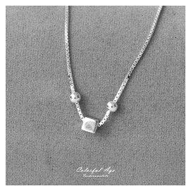 925純銀腳鍊 立體方塊綴雙珠 優雅性感 抗過敏 配戴舒適 清新風格 柒彩年代~NPS7~