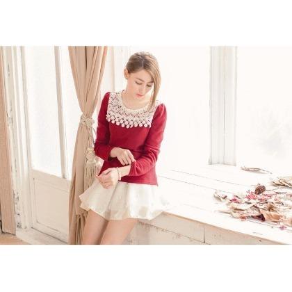珍珠裝飾領口氣質鉤花蕾絲毛織上衣 圓領上衣 針織衫 暗紅L號