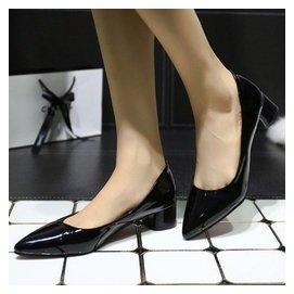 夏尖頭低跟工作鞋女黑色粗跟單鞋皮鞋女中跟空姐職業工裝正裝女鞋