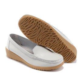 女鞋媽媽鞋單鞋工作鞋 白色低跟真皮護士鞋坡跟圓頭小白鞋平底鞋