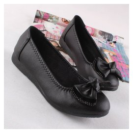 工鞋女黑色職業上班皮鞋坡跟平底單鞋低跟平跟淺口女鞋圓頭工作鞋