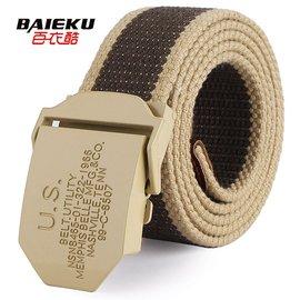 baieku帆布腰帶 褲帶 字母扣頭腰帶男式女款寬腰帶