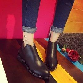 秋 女鞋平跟女靴馬丁靴女英倫風學生平底尖頭單靴裸靴短靴子潮