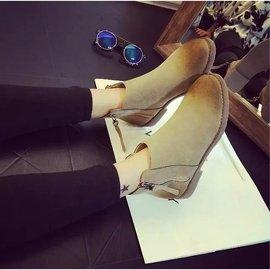 n2016秋 平底英倫短筒女側拉鏈單鞋擦色磨砂皮圓頭馬丁靴子