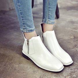 靴子 拉鏈粗跟短筒純色方頭短靴 中跟馬丁靴女鞋女靴子