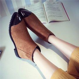 尖頭短靴2016秋  金屬頭防滑底粗跟 黑色馬丁靴子女