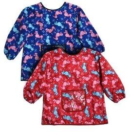 【玫瑰物语】逗趣狗儿童围裙蓝色长袖围裙美术劳作画划衣写书法卡通幼稚园吃饭围裙