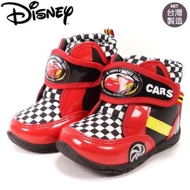 童鞋 迪士尼麥坤兒童帥氣格紋短靴 554611 紅15~19號