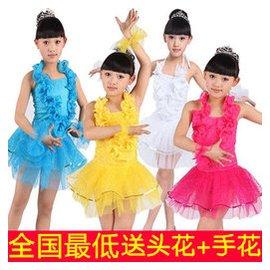兒童演出服裝 女童表演服飾公主裙紗裙亮片 舞裙幼兒舞蹈衣服