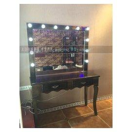 復古實木梳妝台桌子 影樓帶燈化妝台仿古做舊理發鏡台