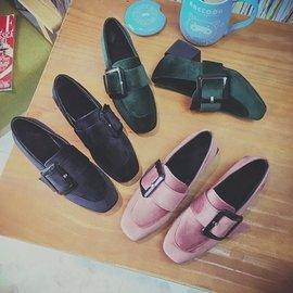 ~超 款~ 黑色 2016  搭扣方頭粗跟中跟單鞋加絨英倫復古工作鞋女鞋子
