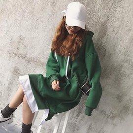 ~超 款~2016 寬鬆顯瘦套頭連帽衛衣女 學生加絨長款衛衣連衣裙