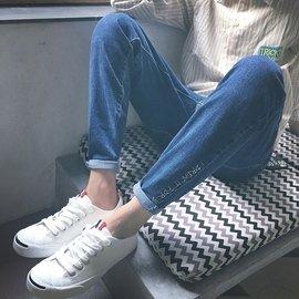 ??BWXD秋裝 學院風腳口英文刺繡牛仔褲男士 學生小腳褲男長褲情侶裝