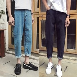 ??BWXD夏裝 彈力牛仔褲簡約男士青年 修身直筒九分小腳褲子潮情侶裝