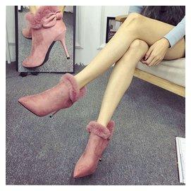 優雅兔毛蝴蝶結絨面尖頭細跟高跟鞋短靴子女鞋女靴潮