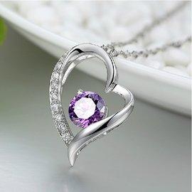 日韓氣質925純銀愛心形項鍊女甜美百搭鎖骨鏈鋯石水晶飾品送女友