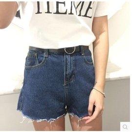 2017百搭藍色 牛仔短褲女寬鬆直筒褲毛邊高腰顯瘦水洗牛仔熱褲