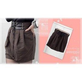 皮革假腰封裝飾款短裙咖 28吋
