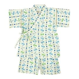 ~UC~JP~  ~他團同步  男童寶寶 日式浴衣 和服 甚平~白底直紋蜻蜓~80cm~褲