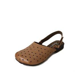 女鞋簡約打孔透氣復古拖鞋 舒適真皮低跟方頭涼鞋