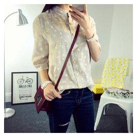 韓國東大門夏裝 復古印花立領棉麻七分袖襯衫女裝 襯衣