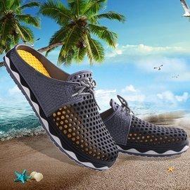 自由角落  男士包頭拖鞋鳥巢洞洞鞋男透氣沙灘鞋 涼鞋潮流半拖鞋