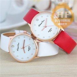 手錶 潮流 男士水晶水鑽簡約皮帶女士學生石英錶台北韓風