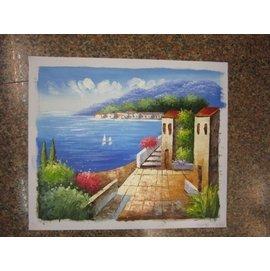 ~府城畫廊~手繪油畫~歐風-地中海風景畫50x60~^(已繃內架,可吊掛^)- 數千張油畫