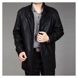中老年薄款外套真皮夾克 男裝春秋裝商務男翻領加絨中長款皮衣