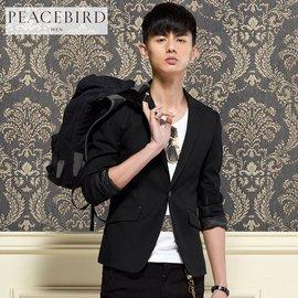 太平鳥男裝西裝 黑色 小西服修身外套 秋裝新 B2BB3373781