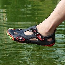 塑料涼鞋個 沙灘鞋防水透氣洞洞鞋男鞋潮涼拖大碼44碼43