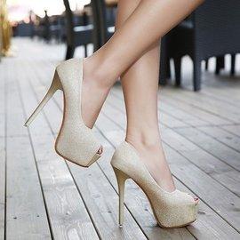 超高跟鞋14cm高性感細跟魚嘴單鞋 淺口防水臺夜店女鞋2016