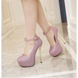 2016 性感漆皮一字搭扣14cm超高跟金屬電鍍細跟圓頭女單鞋