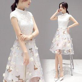 韓依舍HAN~YI官網 韓國風氣質優雅旗袍拼接蝴蝶浪漫短袖洋裝
