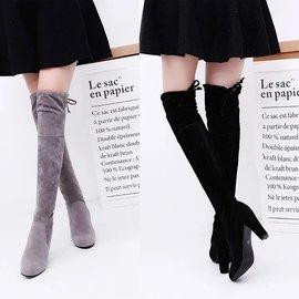 磨砂加絨長筒靴粗跟高跟圓頭過膝長靴高筒靴女靴子