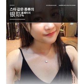 日韓 水晶S925純銀單顆美鑽項鍊鎖骨鏈銀飾生日 情人節