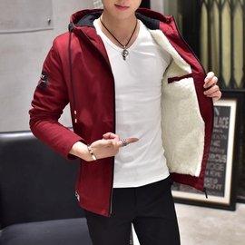 娜娜小屋 外套~加絨男夾克青年保暖外衣修身連帽男裝加厚學生外套