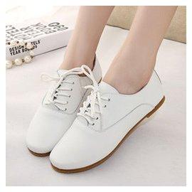 小白鞋真皮 女鞋繫帶小皮鞋牛津鞋韓國 平底單鞋 女