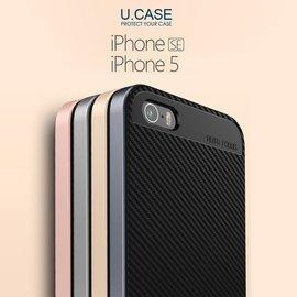 無LOGO U.CASE 有殼 APPLE iPhone SE 5 5S 保護殼 金屬色邊