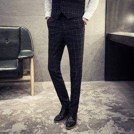 好物2016 百搭春款男士 褲 修身小腳褲直筒格子西褲