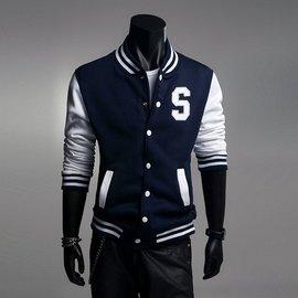 男裝2016 衛衣男士S字母 修身 刺繡長袖純棉棒球服黑色