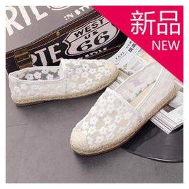 新品 繡花網紗單鞋包頭平底漁夫鞋女圓頭包跟一腳蹬懶人鞋