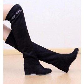 娜娜小屋  薄款純黑色長筒靴彈力布過膝長靴子內增高跟鞋單女鞋