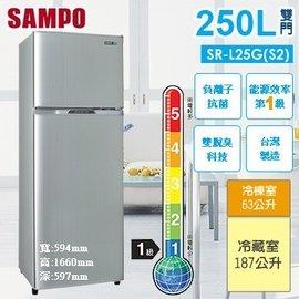 賣家~SAMPO聲寶~ 250公升白金雙脫臭雙門冰箱SR~L25G^(S2^)璀璨銀