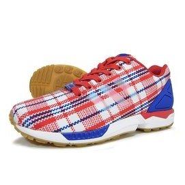 ADIDAS ZX FLUX X CLOT 格紋慢跑鞋 紅白藍 .S78096.冠希.YE
