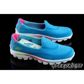 清仓☆SP☆SKECHERS GO WALK 2 懒人鞋 水蓝棉布 中童鞋 大童小朋友 户外健走鞋 81052LBLU