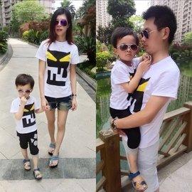 2016 qzz親子服裝韓三口大碼全家親子母女裝嬰兒加肥夏裝T恤潮